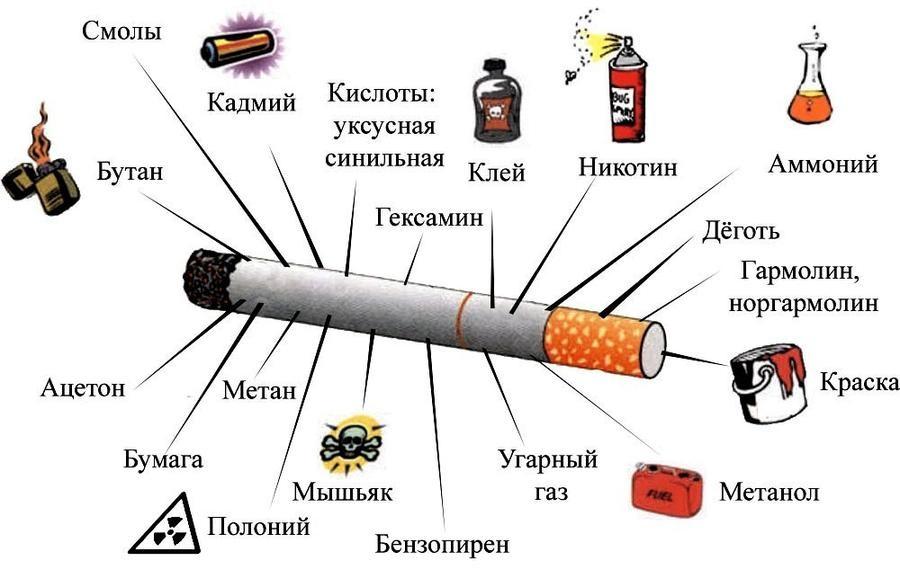 Состав сигарет и влияние курения на организм